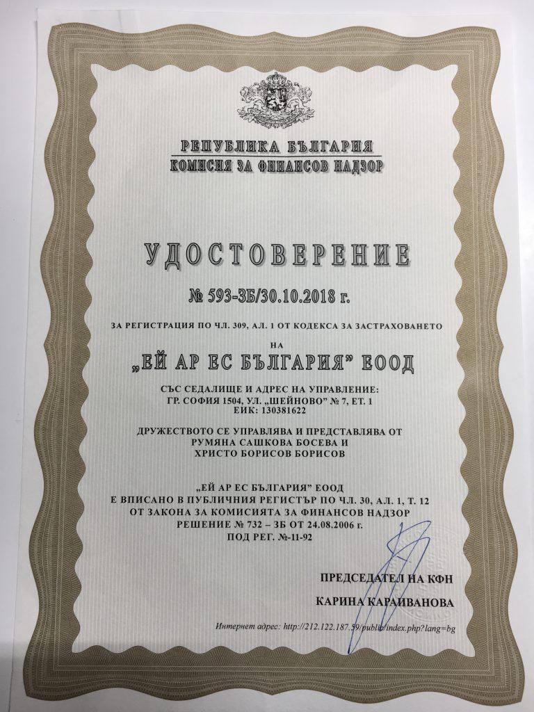 Удостоверение по чл.309, ал.1 от КЗ